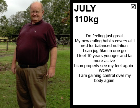 JULY 110kg I'm feeling just great. My new eating habits covers all I ned for balanced nutrition. I can run 5km in one go. I feel 10 years younger and far more active than ever. I can properly see my fet again - WOW! I am gaining control over my body again.