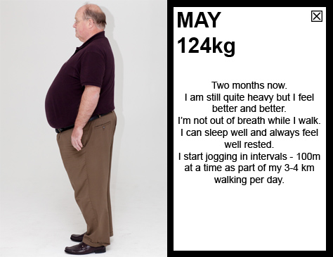 MAY 124kg Two months now. I am still quite heavy but I feel better and better. I'm not out of breath while I walk. I can sleep well and and always feel well rested. I start jogging in intervals - 100m at a time as part of my 3-4 km walking per day.